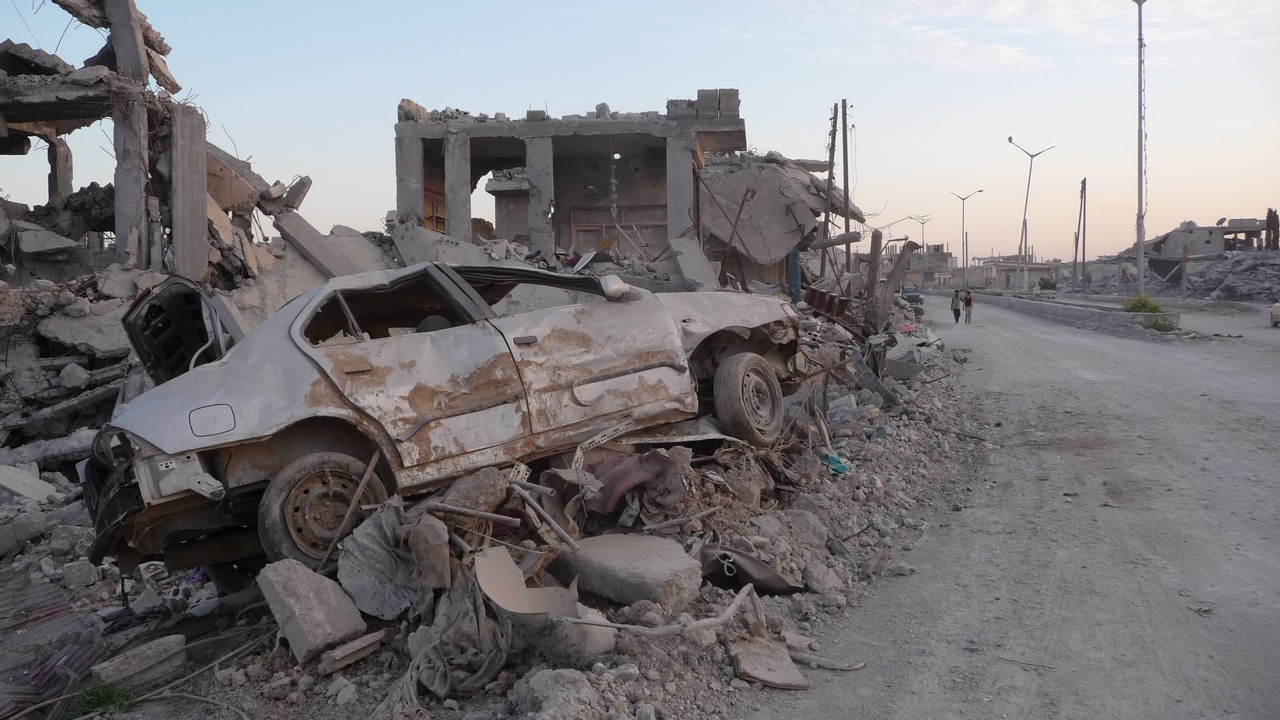 Destruction in the city of Kobani, Syria.
