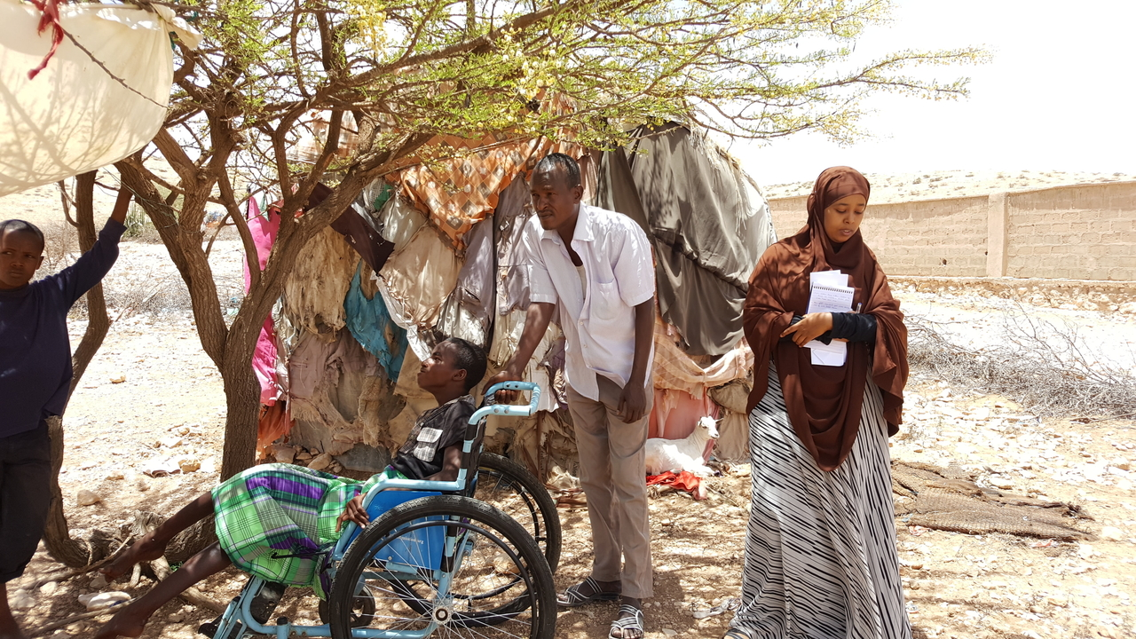 A needs assessment team in Somaliland meets a family displaced by drought and food shortages, May, 2017.; }}