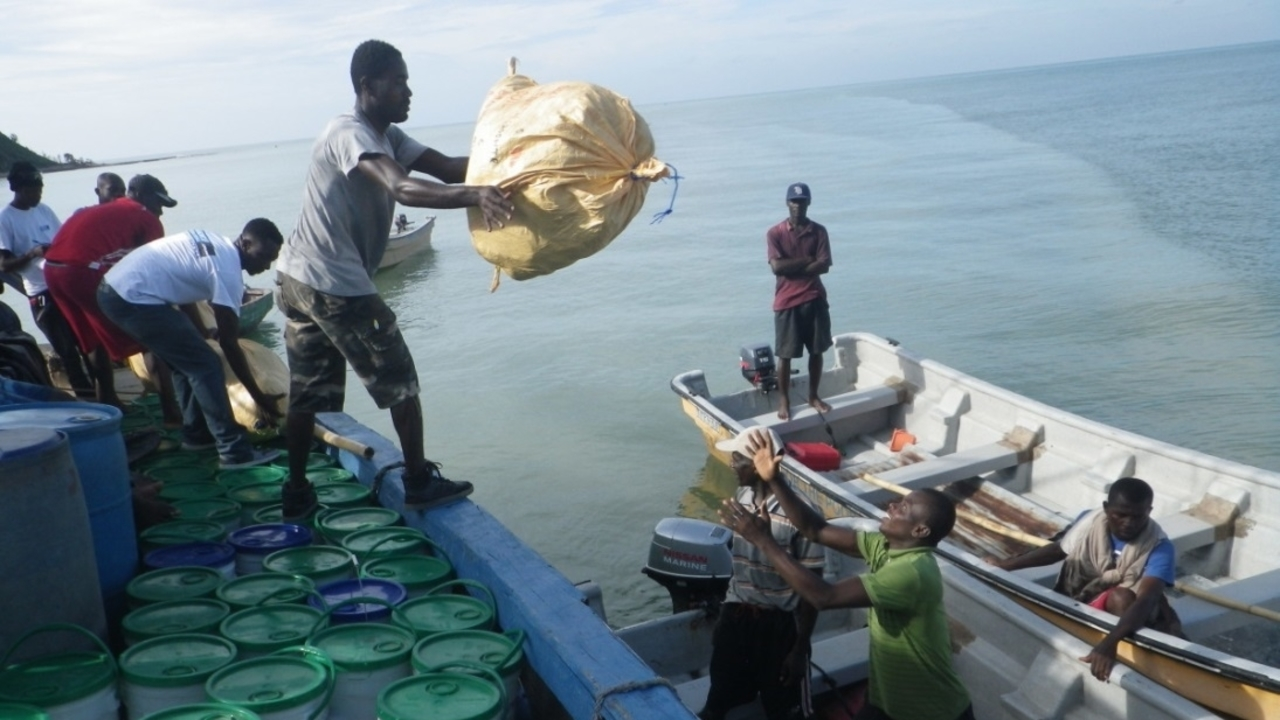 HI's logistics platform coordinating the delivery of aid items by sea, Haiti, October 2016.; }}