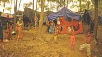 Rohingya refugees in a camp in Bangladesh; }}