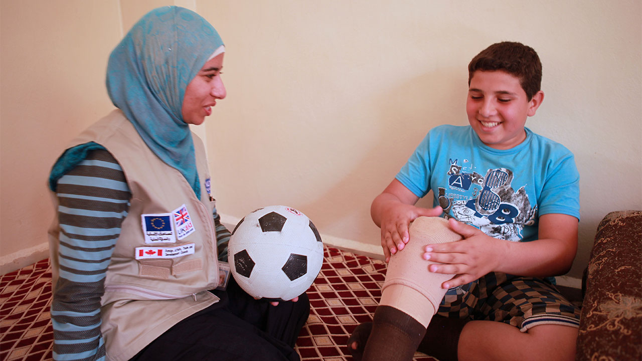 Youssef, 14, who lost his leg when a missile exploded in Syria