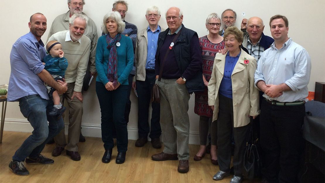 Martin (bottom row second from left) with members of South Somerset Peace Group and Fred and John from HI (either side).